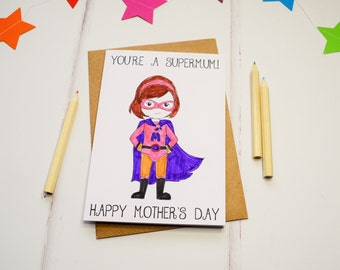 Mother's Day card for Mums, mum Card, Colouring In Card, Coloring Card, Superhero Card
