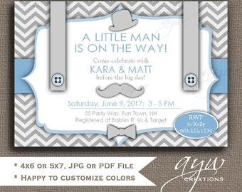 Little Man Baby Shower Invitation for Boy Mustache Shower Invites Suspenders Hat Bowtie Invitation Boy Baby Shower Invitation Little Man