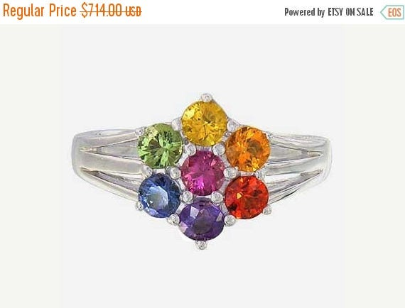 EOM Sale Multicolor Rainbow Sapphire Flower Cluster Ring 14k White Gold (1.5ct tw): sku 1819-14K-WG