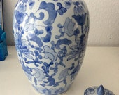 Vintage large chinoiserie vase with lid // blue and white hand painted vase // collectible oriental chic