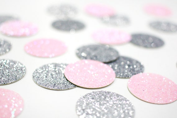 "Light Pink + Silver Glitter Circle Confetti - 1"" - Wedding. Bachelorette Party. Bridal Shower. Baby Shower. Engagement. First Birthday."