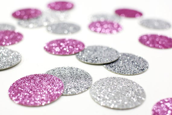 """Lavender + Silver Glitter Circle Confetti - 1"""" - Wedding. Bachelorette Party. Bridal Shower. Baby Shower. Mermaid Party. First Birthday."""