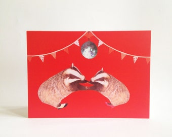 Valentine Anniversary romantic card - dancing badger couple - red