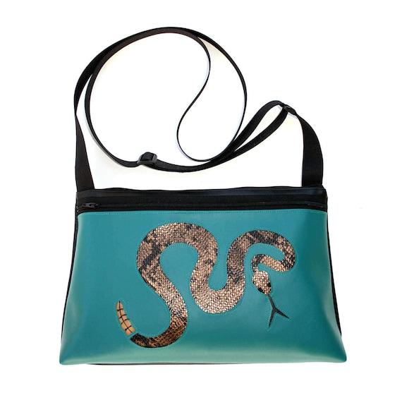 Rattlesnake, turquoise vinyl, medium crossbody, vegan leather, zipper top