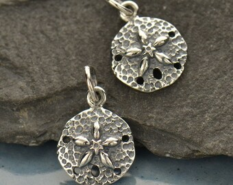 1 pc ~ Small Sterling Silver Sand Dollar Charm