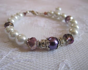 Purple and White Bridesmaid Bracelet Maid of Honor Jewelry