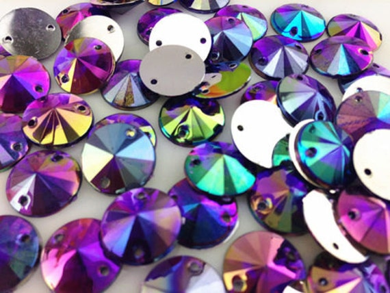 Royal Purple AB Round Flat Back Pointed Sew On Rivoli Resin Rhinestones Embellishment Gems C4