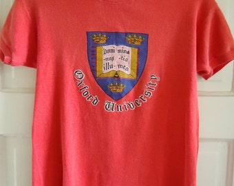 Vintage 70s/80s OXFORD UNIVERSITY Cap Sleeve T Shirt sz S