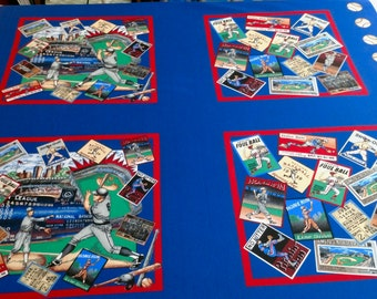 Baseball Print Fabric Panels - 12 Panels