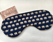 Sleep mask / cute elephants travel sleep mask / navy eye mask / night mask cute elephant fabric