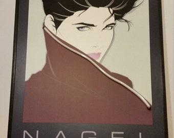 Vintage 1985 NAGEL The Book Dumas Mirage & Alfred Van Der Marck Editions Serigrapg Neon Light Large Poster 36x26
