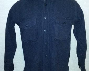 Men's Vintage Navy Blue 1960s C.P.O Wool Shirt SPORT KING Anchor Buttons Sz-S