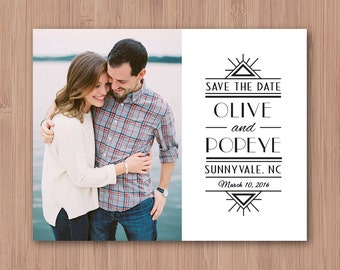 Photo Save the Date Magnet - Art Deco Save the Date Postcard - Gatsby Photo Save the Date Cards - Save the Date Printable