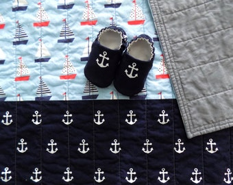 Nautical Baby Boy Quilt with Baby Shoes, Baby Boy Gift, READY TO SHIP,  Sailboats and Anchors, Baby Quilt, Nautical Baby Blanket, Baby Gift