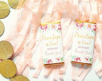 Boho Pink Floral Printable Chocolate Bar Wrapper