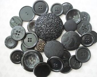 Black Button Collection - 26 Black Plastic Buttons - Extra Large Black Buttons - Fancy Black Buttons - Black Cloth Buttons