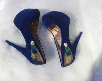 Elegant Royal Blue Peacock Bridal Heels