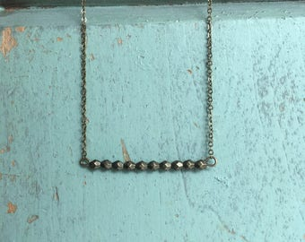 antique brass bar necklace brass beaded necklace simple necklace dainty necklace bridesmaid jewelry summer necklace accent necklace