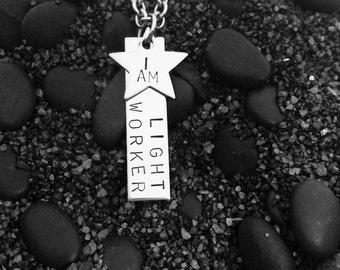 I AM LightWorker stainless steel necklace