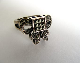 Silver and Marcasite Ring.India Victorian ring.