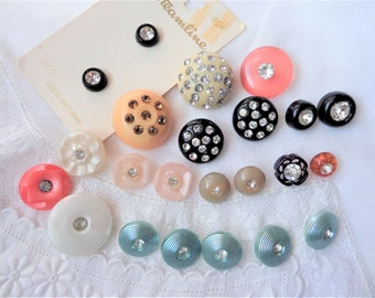 Vintage Rhinestone Button Lot 23 Plastic Buttons