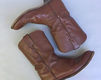 Vintage JUSTIN Brown Leather Western Boots sz 7.5