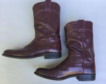 Vintage JUSTIN Black Leather Western Boots sz 8.5