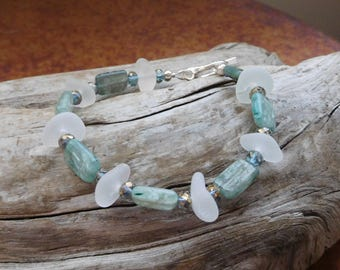 Genuine Sea Glass bracelet.  Real beach glass.  White sea glass with natural Kyanite beads and crytals.  Ocean.  Sea side. Wedding.