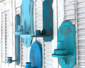 Wooden Vintage Wall Sconces - Set of 5 Cottage Shabby Chic Blue Candle Holders