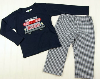 Boys Valentines Shirt- Navy Valentines Day Shirt with Truck - Valentines Day Toddler Boy Outfit - Valentines T-Shirt for Boy - Gingham Pants