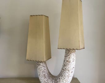 Atomic mid century lamp ceramic base with fiberglass shades amazing