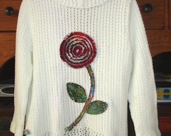 Upcycled Artsy Sweater Chenille Size L