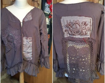 RITANOTIARA OSFA OOAK Slate Grey made to order Calligraphy vintage crochet jacket cotton linen Southern Gothic couture coat  gypsy lagenlook
