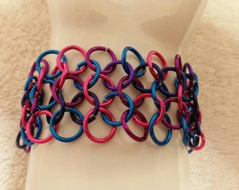 Pink Purple And Blue Chainmaille  Bracelet