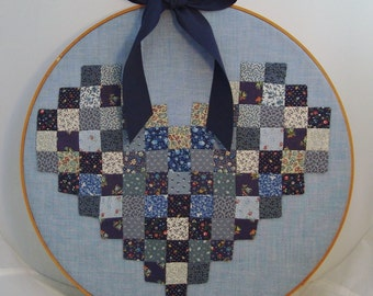 Pieced Postage Stamp Heart Appliqued on Chambray in Framed Hoop