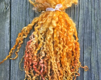 Teeswater Locks, Extra Long, Dyed, Tailspinning, 1 ounce, Doll Hair, Spin, Felt, Fleece, Golden Straw