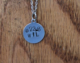 823.8 WIL - Oscar Wilde Dewey Decimel Metal Stamped necklace