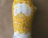 Vincent Van Gogh - Sunflowers Art Doll with Tattoo Sleeve- Plush Hipster Doll OOAK- made to order - Vintage Artist soft sculpture and softie