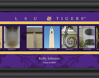 PERSONALIZED & FRAMED NCAA Lsu Tigers Letter Art Sports Prints