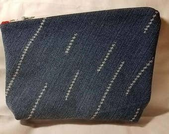 Upcycled Asymmetrical Denim Custom Stitched Handbag Clutch Style Bag Recycled Jeans