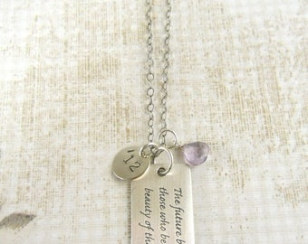 """SALE Graduation Gift, Sterling, Inspirational, Dream, Necklace, 2014,  Eleanor Roosevelt, Famous Quote """"The Future Belongs to those..."""", G15"""