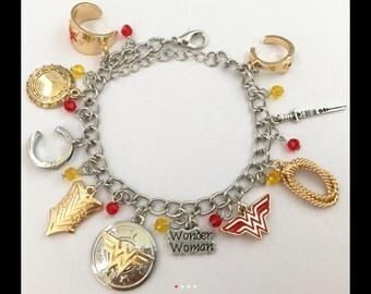 Wonder Woman inspired charm bracelet in gift box