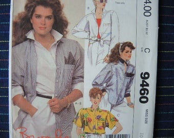 vintage 1980s McCalls sewing pattern 9460 misses shirt and handkerchief size 10