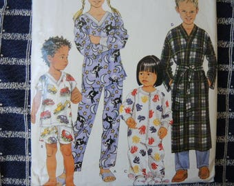 2000s sewing pattern Simplicity 0666 childrens pajamas robes loungewear UNCUT size 3-4-5-6