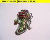 KC stocking brooch ,christmas brooch, holiday brooch, xmas brooch, vintage christmas