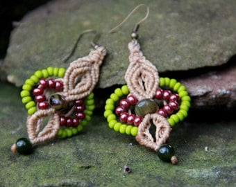 Beaded Macrame gypsy colourfull earrings