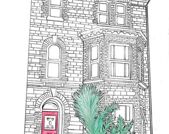 Custom  House Portrait. Building portrait from photo. Wedding/anniversary/ memories gift. Pen and Ink