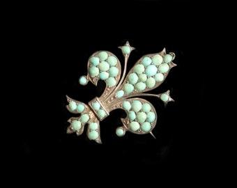 MoonsCuriousItems-Antique Silver & Pave Turquoise Fleur- de- Lis Brooch
