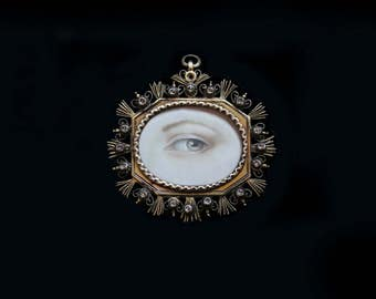 Sandra Hendler Original Hand Painted Miniature  of a Lovers Eye In Rare & Fabulous Antique- 1700's Silver w Gilt Wash and Jargoon Stones
