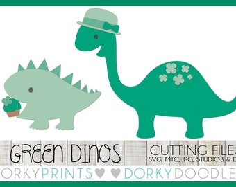 St Patrick's Day Cuttable Files, green shamrock dinosaurs - svg, mtc, jpg, studio 3, and dxf files, Dino SVG